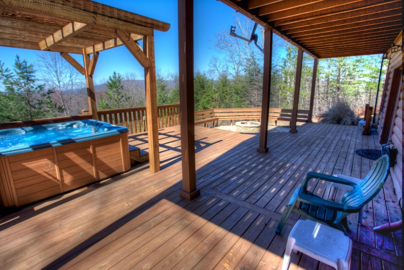 Extensive decks at Bear Mountain cabin with awesome views.