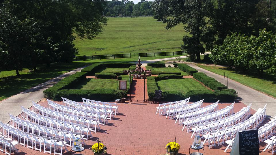Formal garden and wedding ceremony space at Santuary Estate.