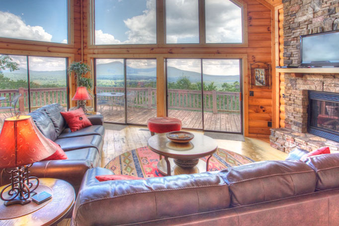The awesome views from the expensive windows at Five Seasons cabin.