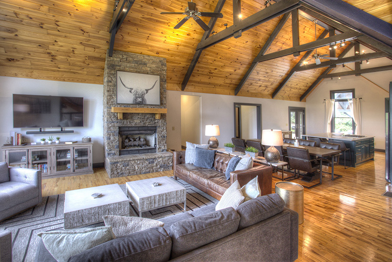 The amazing interior of Georgia Highland Retreat, a 6 Br rental near Helen.